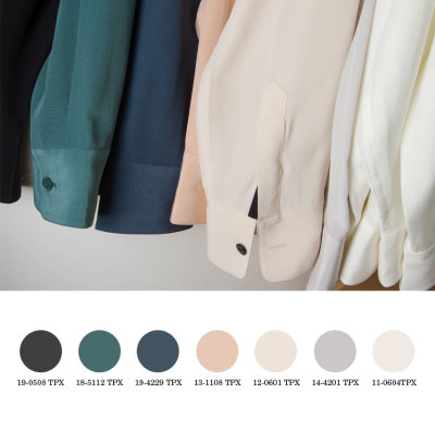 everlane:  Hues of the new spring silk collection translated into Pantone.