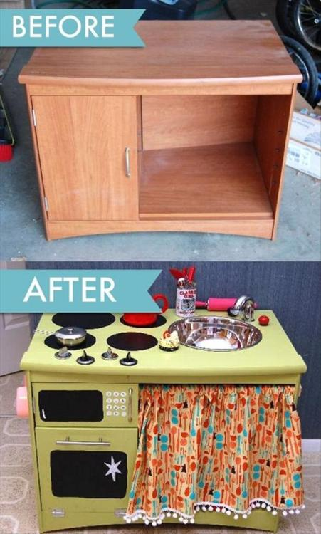 Turn that old cabinet into a kitchen play set!