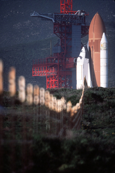 Shuttle Enterprise in launch configuration at Vandenberg AFB.