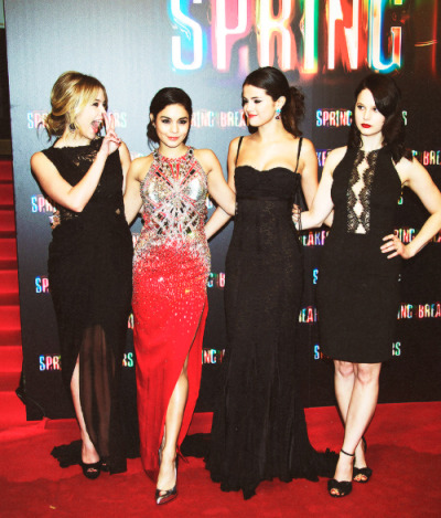 "Selena Gomez, Vanessa Hudgens,Ashley Benson and Rachel Korine at the premiere of  ""Spring Breakers""on Thursday in Madrid, Spain"
