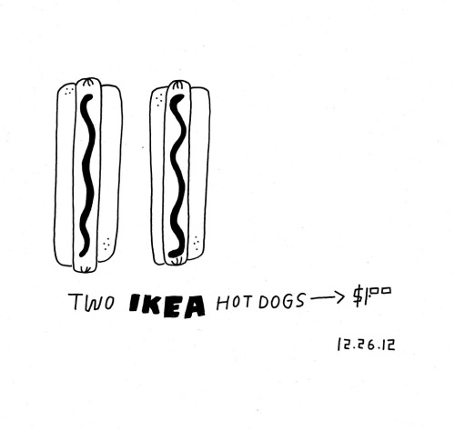 Daily Purchase Drawing for 12.26.12  Ikea Hot Dogs.