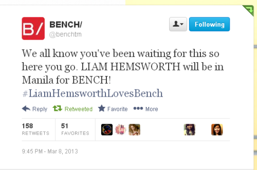 Liam Hemsworth coming to Manila for Bench! Famous clothing brand, Bench, just announced via their official twitter account that Liam Hemsworth will be visiting Manila as their endorser.  Last June 2012, Bench announced Liam Hemsworth to be one of their endorsers. Soon after, various billboards were spotted featuring him.