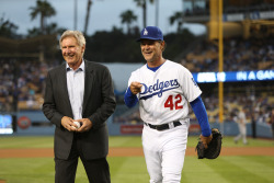 Harrison Ford and manager Don Mattingly share the ceremonial first pitch duties on Jackie Robinson Day.