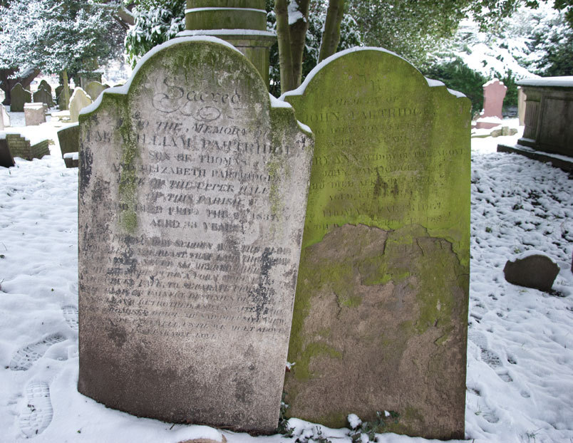 Here's a photo I took of a pair of gravestones in a churchyard in Hendon on 21st January in the snow