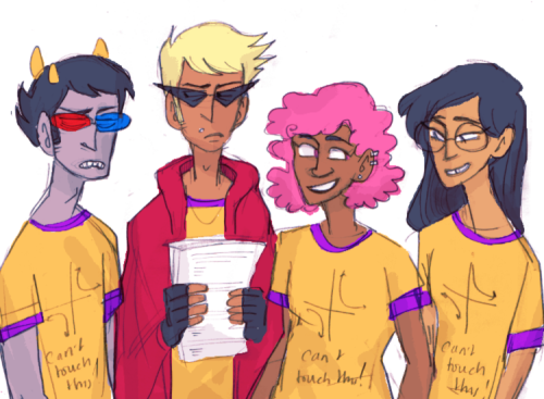 "animesports:mathlete au……roxy is the president friendleader, dirk is the scary vp who throws practice tests at people in the hallways, jade seems harmless but is actually completely ferocious at competitions, and sollux doesn't actually want to be here(he had to join the math team as punishment for hacking the school board website and redirecting it to neopets and because there weren't enough trolls on the team)((their shirts say ""can't touch this"" and show a hyperbola haha))"