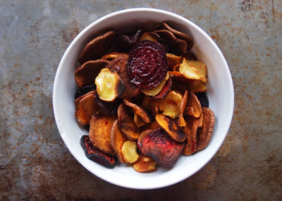 Baked Root Vegetable Chips with recipe (link)