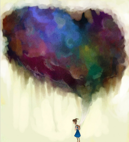 "hitrecord:  ""Bearing Clouds"" Illustration by Neaveria == Contribute your Tiny Stories HERE!"