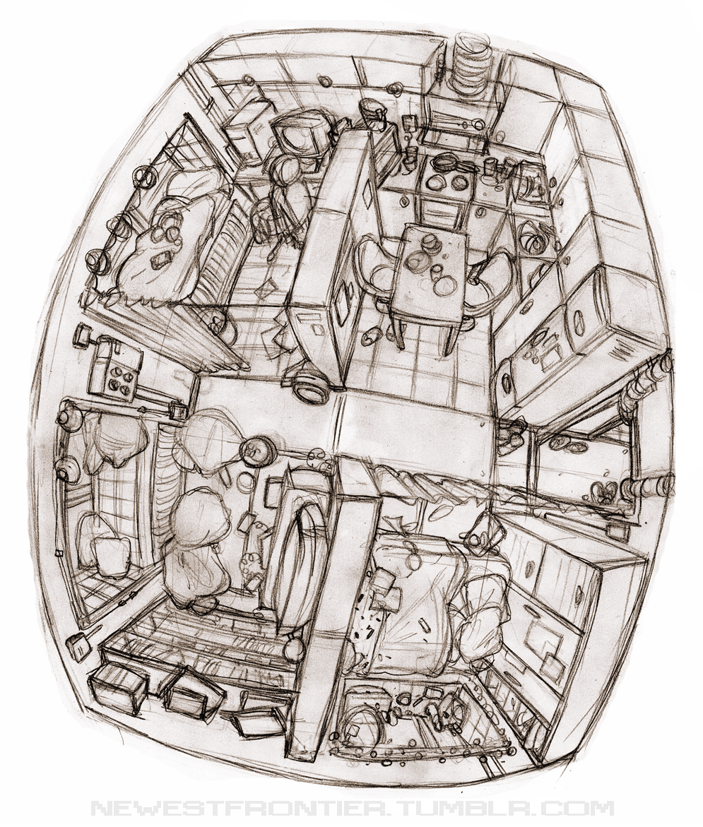 all space is utilized hannakdraws:  newestfrontier:  Billy and Lolas apartment in fish-eye. It's like, Tokyo style cramped in there.    I guess this is a pretty cool sketch? from my space stories Tumblr