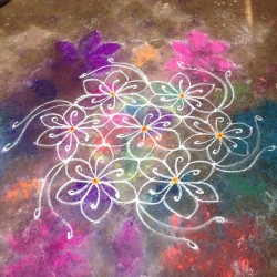 beautiful kolam in hampi for the full moon festival