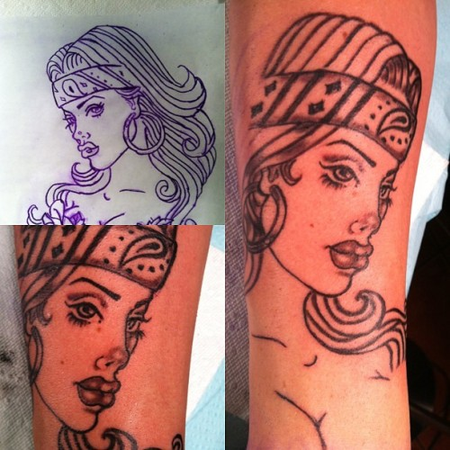 "This a ""Chola"" tattoo I started on Rory tonight #chola #tattoo #FemaleTattooArtists #ink #HotInk #sexy"