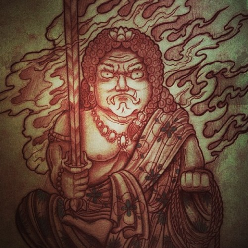 Quick #fudo #sketch by @darumakola at #thecirclelondon  (at The Circle Tattoo)
