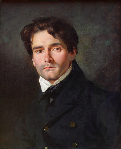fuckyeahhistorycrushes:  This is a portrait of French Romantic painter Leon Riesener, by his cousin, French Romantic painter Eugene Delacroix