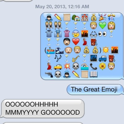 withloverae:  weasley-sweaters:  The Great Gatsby as told by me through emojis. #thegreatgatsby #greatgatsby #gatsby #emoji #leo #shirts #sad  Great Gatsby in emojis