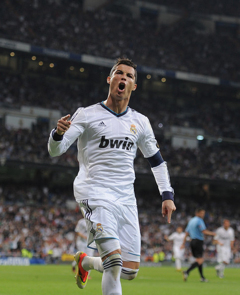 Cristiano celebrates scoring Madrid second on Malaga. Getty