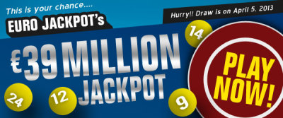 osalottos:  Euro Jackpot Draw: EU 39M Jackpot on April 5There was NO jackpot winner in the March 29 Euro Jackpot draw.The winning numbers were 01-22-27-37-50 and Lucky stars 05-07.The Euro Jackpot on Friday, April 5th is now estimated at EU 39M.Play the Euro Jackpot now!