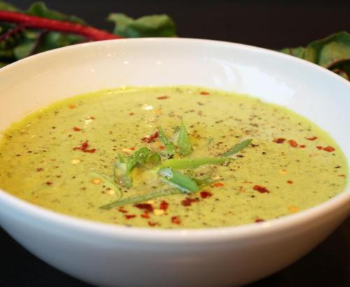 Hearty Green SoupThere's so much veggie goodness in this soup! Plant-based powerhouses kale, spinach, swiss chard, broccoli and asparagus give this soup its signature colour. Coconut milk adds a delicious creaminess.
