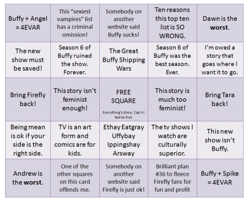 "scattergoriesofevil:  Whedon Fandom Turmoil Bingo.  Hahaha.  You forgot ""What is up Joss's obsession with Eliza Dushku?"""