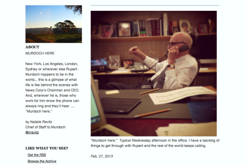 new:  Rupert Murdoch is on Tumblr. For real.  He's not really a Tumblr user until he reblogs that Marina Abramović gifset that's popped on our dashboard a dozen times in the past twelve hours.