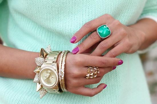 Nail Style: Make a chic pastel outfit really pop with warm magenta nails! 'Like' us on Facebook and follow us on Twitter @Lacquerous for even more fashionable lacquer!