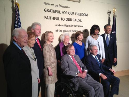 think-progress:  Five presidents gather for George W. Bush's dedication of his presidential library. Get ready for media whitewashing his legacy. Here are 13 reasons not to let them.