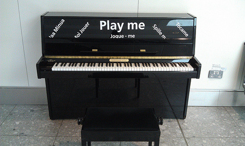 Piano at Heathrow.