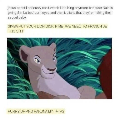 "thatsoindiebro:  justinlbc:  LMFAO! ""HURRY UP AND HAKUNA MY TATAS"" GOT ME HELLA WEAK HAHAHHAHAHAHHAHAHA  i cant"