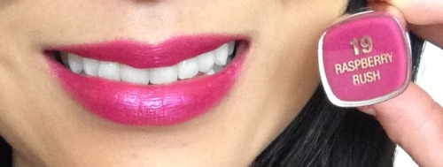 On my lips: @MilaniCosmetics Colorstatement Lipstick in 019 Raspberry Rush (metallic finish)