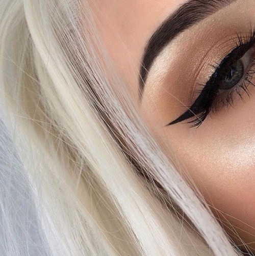 makeup fashion eyeliner highlight eyebrow perfect trend blonde blue eyes
