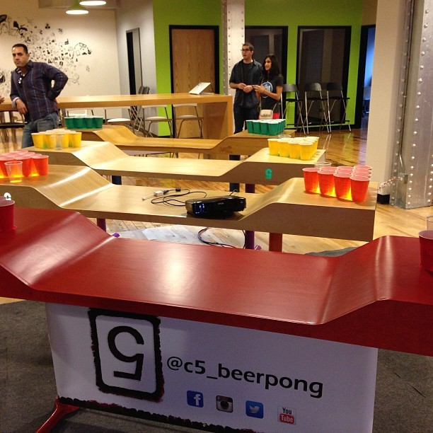 Sick setup! @startup_wars beer pong tourney (at Mobile Makers Academy)