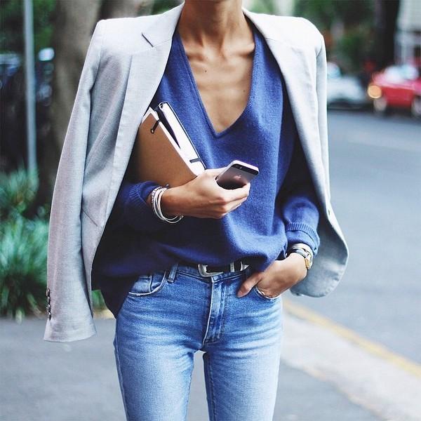 blue v neck sweater inspiration post