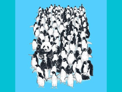 Pandas and Friends Tee Where's Panda? Can you find panda in a herd of penguins.