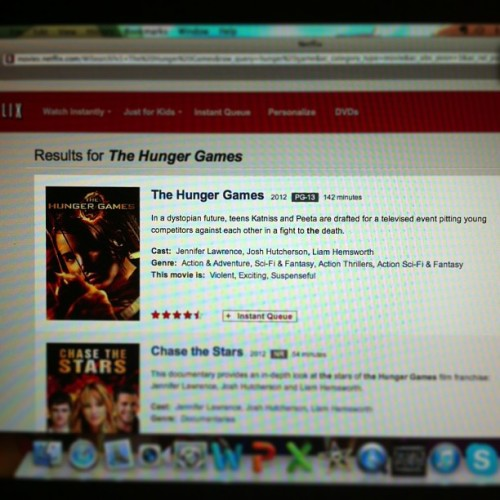 Look what's finally on Netflix ? :p even though I already have the DVD . #hungergames #netflix #omg #thg
