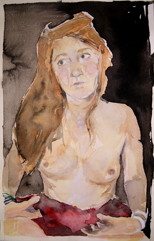 portrait of Marie. http://sylvainkonyali.tumblr.com A great watercolor portrait by Sylvian Konyali. Thanks so much, Sylvian    ~ Eros