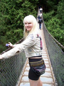 "myself at Lynn Canyon… note my sweet Red Dwarf ""Jupiter Mining Corp."" patch. There's more pics of Lynn Canyon and other awesome places I wind up at on my other photo dumblr I never talk about; http://highwayramblinwhiskeywoman.tumblr.com"