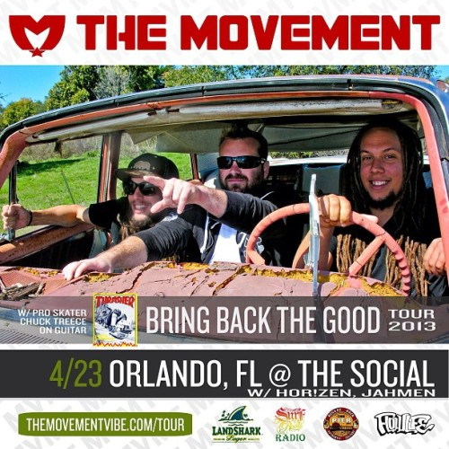 Orlando, we're coming! Tuesday, April 23 #BringBackTheGood Tour hits The Social: The Movement w/ @HorizenMusic and @Jahmen_Band. #MVMTvibe #HorizenMusic #Jahmen #SocialOrlando #Reggae #FlowLife