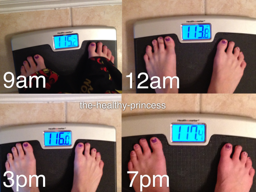 the-healthy-princess:  My dashboard is FULL of posts about peoples weight. Why?  I decided I should weigh myself throughout the day to show just how silly gaging all your success based on the scale can be. If what the scale said directly correlated to how I felt about my body I would be on a constant emotional roller coaster. (It's also good to know I weighed the most after a workout) Girls please stop, stop judging your self worth off a number.