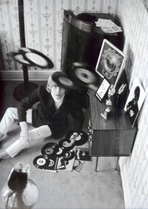 languagethatiuse:  Mr. Brian Jones of The Rolling Stones with his record collection.