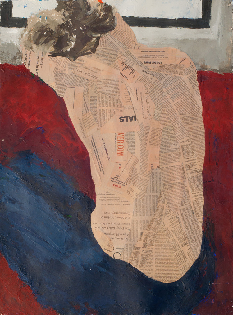 Aly Back (Observer), collage and mixed media on paper, 30 x 22 in, 2012. Some of my collages are going to be shown at The Minster Gallery outside of London.