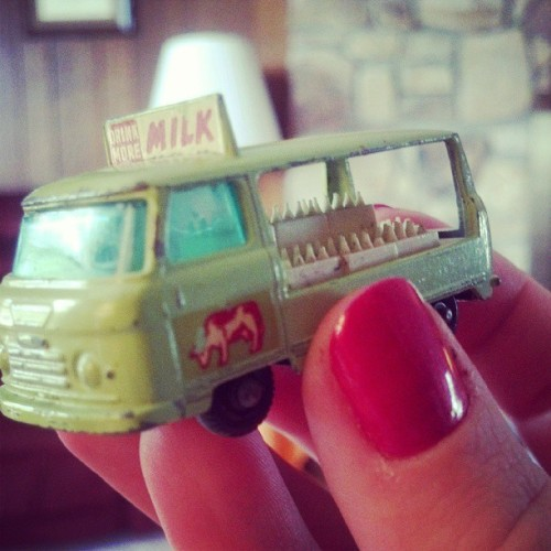 very very very old toy milk truck.