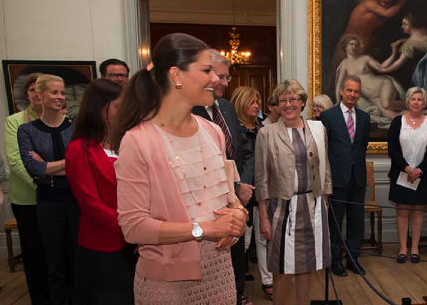 "royalwatcher:  Yesterday Crown Princess Victoria attended the opening of the exhibition ""Princess Estelle — Birth and Christening"" at Strömsholm Palace"