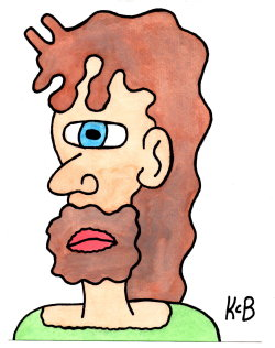 "kevinboehner:  ""Ancient Northern Cave Artist"" (6x8 watercolor and ink)"