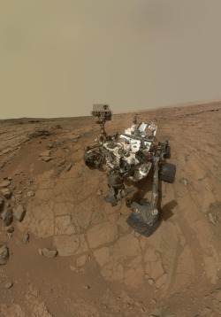 scienceisbeauty:  This self-portrait of NASA's Mars rover Curiosity combines dozens of images taken by the rover's Mars Hand Lens Imager on Feb. 3, 2013. Credit: ASA/JPL-Caltech/MSSS Source: NASA's Mars Rover Curiosity in Safe Mode After Computer Glitch, space.com