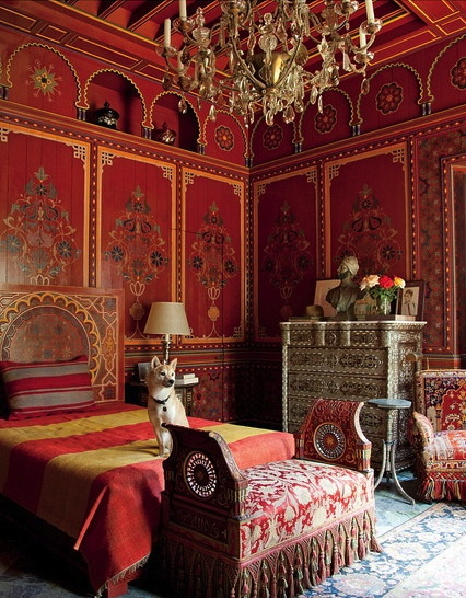 cristopherworthland:  Pierre Berge's bedroom designed by Bill Willis at Villa Oasis, Morocco.
