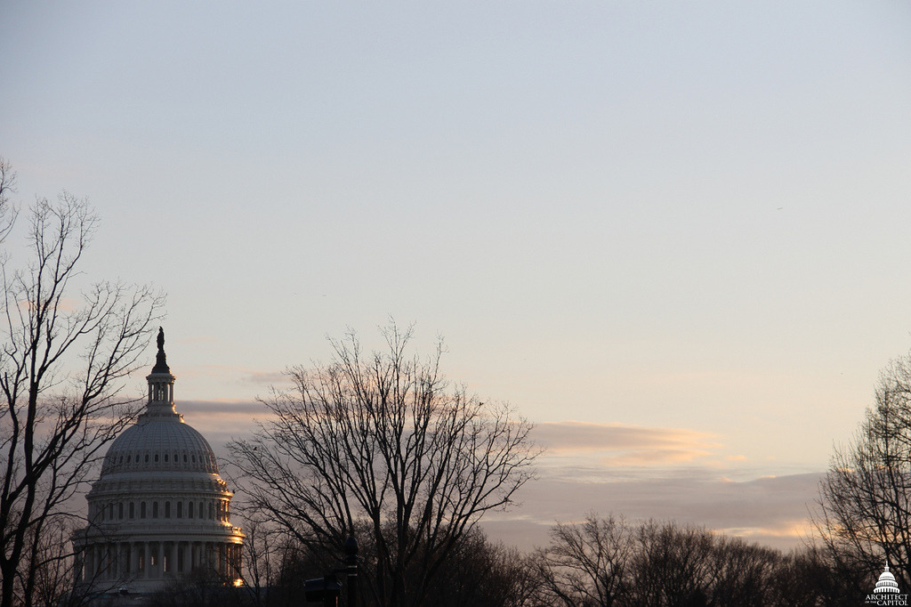 Image description: A winter sunset at the Capitol building. Photo from the Architect of the Capitol
