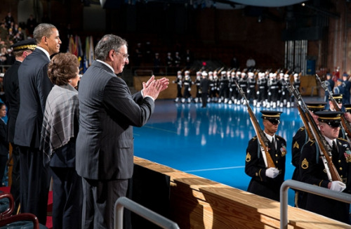 President Barack Obama and Defense Secretary Leon Panetta, joined by Sylvia Panetta, review troops during the Armed Forces Farewell Tribute in honor of Secretary Panetta, at Joint Base Myer-Henderson in Arlington, Va., Feb. 8, 2013. (Official White House Photo by Pete Souza)