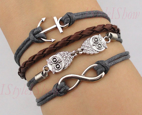 appreciatinglifeasitis:  Favor21.com hot sales - Owl Hand-knitted leather cord four Bracelet,handmade on @weheartit.com - http://whrt.it/17sr3ZX