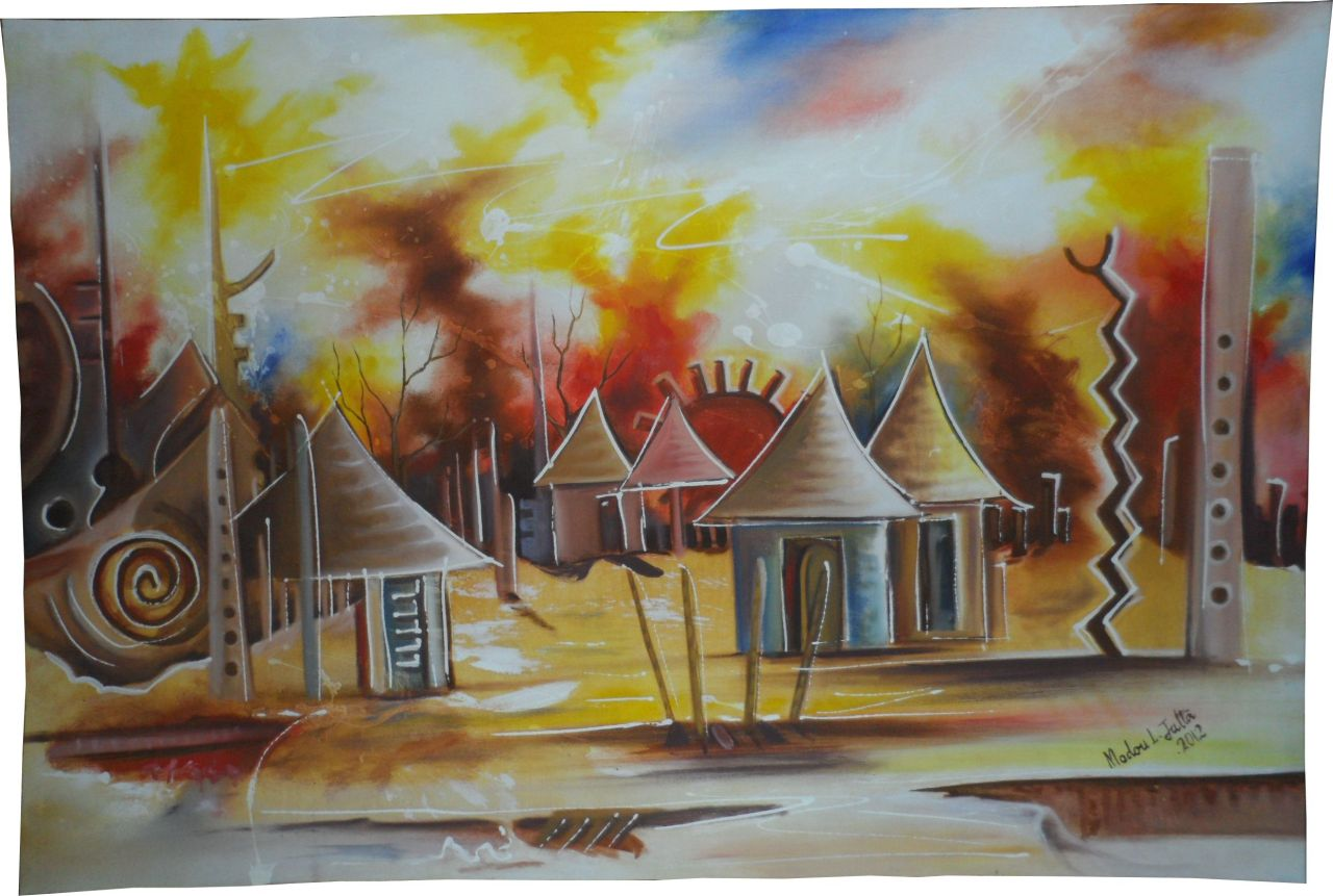 http://www.art-dafrique.com/shop/en/home/39-enchanted-village.htmlFrom the Gambia, this painting represents an enchanted village. It was made in 2012 by Modou Jatta L.http://www.art-dafrique.com/shop/fr/home/39-village-enchante.htmlVenant de la Gambie, cette peinture représente un village enchanté. Elle a été faite en 2012 par Modou L Jatta.