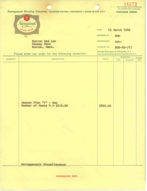 Receipt for Narragansett Beer's Red Sox Hi Neighbor Box Seats in 1966.