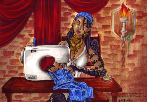 keyshakitty:  Isabela sewing up a bit of new sash for her outfit. This was a collab between myself (inks and colours) and my ever-amazing friend Jakface who did the pencils.Done specially for our friend Sylvie who is not only talented at costuming herself (she made our Kikwi girl costumes and corsets) but also the amazing photographer behind our Zelda/Groose and Korra/Bolin photo shoots!So since she herself loves Isabela and is an Isabela cosplayer, it seemed like a pretty fun idea to make this up for her!Image is on an A4 Hot Press Crescent illustration board, inked with sakura microns and faber castell pens and coloured with copic, tria and pro markers, with Watercolour backdrop in areas.  Keysha's explanation pretty much sums it up. Enjoy, my DA lovelies! <3