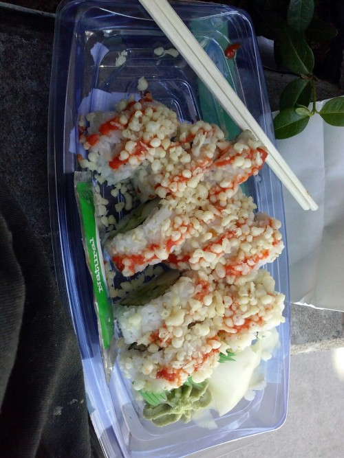 Rice crispies on sushi!